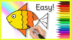 how to draw a fish easy drawings for kids youtube