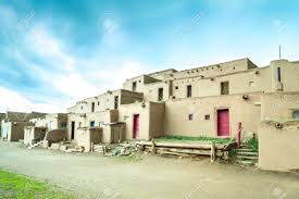 Adobe Pueblo Houses Adobe Settlement Represents The Culture Of The Pueblo Indians