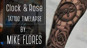 realistic clock and rose tattoo time lapse mike flores youtube