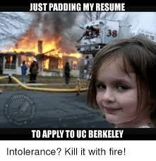 Uc Memes - just padding my resume to appl to uc berkeley intolerance kill it