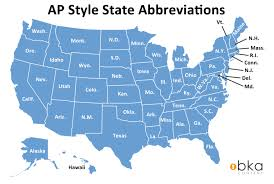 Map Of Usa With State Abbreviations by Ap Style State Name Abbreviations Bka Content