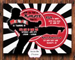 karate invitation etsy