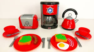 Red Kettle And Toaster Breakfast Playset With Kettle Toaster And Coffee Maker Little Cook