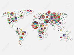 Vector World Map World Map With Flags Royalty Free Cliparts Vectors And Stock