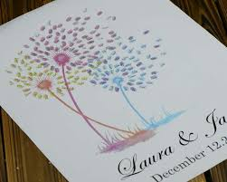 wedding tree guest book wedding tree guestbook alternative dandelion finger print guest book