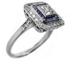 engagement ring princess cut diamond art deco blue u0026 white square