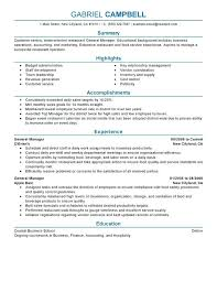 sample resume for event manager general manager resume sample