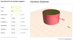 oberfläche zylinder körper berechnen und darstellen zylinder oberfläche und volumen