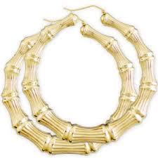hoop earrings 14k yellow gold bamboo hoop earring 2 7 8 inch