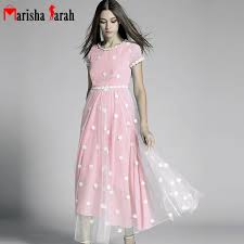 Womens Light Pink Dress Aliexpress Com Buy Lace Embroidery Flower Dress Women Long Maxi