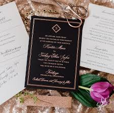 Exclusive Wedding Invitation Cards Kristin Zach U0027s Luxury Rose Gold Foil And Black Wedding