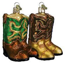 world ornaments cowboy boots assorted 32072