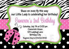 lime green gingham ladybug birthday invitation baby shower