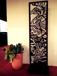 Sheet Metal Garden Art - corten steel relief sculpture featuring a seahorse this garden