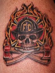 helmet tattoos u2013 firefighter flames and skull design