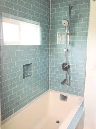 modern white fiberglass tubs decor with ceramic glass tile wall