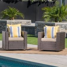 Outdoor Wicker Swivel Chair Liam Outdoor Wicker Swivel Club Chair With Cushion Set Of 2 By
