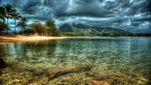 beaches rocks nature clouds computer kauai beach reflection water