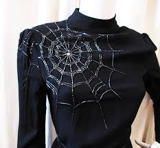 vintage 1930s metallic lame embroidery spider web dress bodice