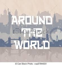 Vectors of around the world travel background cities new york