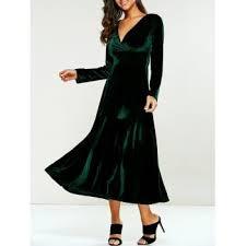 v neck bell long sleeve velvet skater dress green xl in long