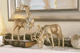 chagne glitter deer figurines set of 2 home kitchen