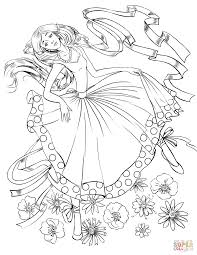 dancing with a ribbon coloring page free printable coloring