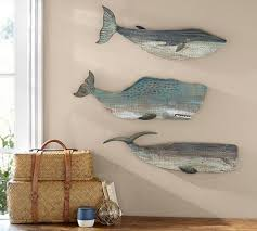 painted wood whales wall set pottery barn