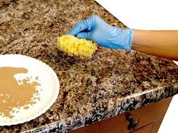 how to paint laminate kitchen countertops diy step 2 dab and blot