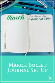march bullet journal set up boho berry