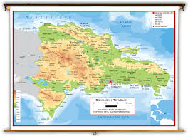Physical Map Of North America by Dominican Republic Physical Educational Wall Map From Academia Maps