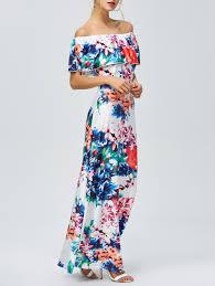 off the shoulder floral hawaiian print maxi dress floral xl in