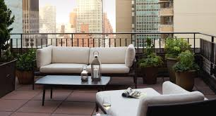 furniture roof terrace patio design with green garden near brown