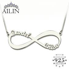 valentines day necklace wholesale personalized infinity necklace two name necklace silver