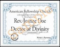 honorary degrees and certificates american fellowship church