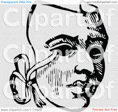 clipart of a retro vintage black and white drama theater mask