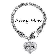 crystal heart charm bracelet images My shape wholesale army mom crystal heart charm bracelet bangle jpg