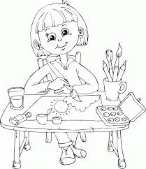 schoolgirl painting at desk coloring page busy kids