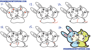 how to draw cute kawaii chibi kids dressed up in costumes with