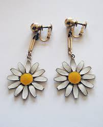 sixties earrings retro 60 s mod enamel flower drop earrings by saffaron the