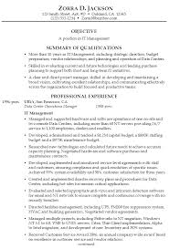 Objective Of Resume Examples by Resume For It Management Susan Ireland Resumes