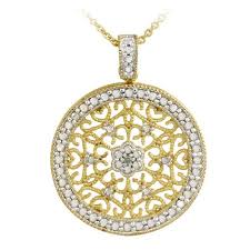 gold medallion necklace images Db designs 18k gold over silver diamond accent filigree medallion jpg