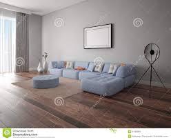 Corner Sofa Living Room Mock Up A Spacious Living Room With A Large Corner Sofa Stock
