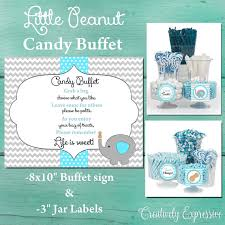 Baby Shower Candy Buffet Sign by Gray And Blue Chevron Baby Shower Candy Buffet Sign Little Peanut