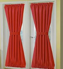 solid red french door curtain panels