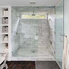 bathroom showers tile ideas walk in shower with side by side marble tiled shower niches