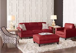 Prospect Park Red Leather  Pc Living Room Leather Living Rooms - Red leather living room set