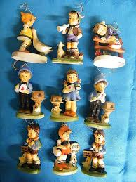 hummel like ornaments set of 9 plastic painted hong