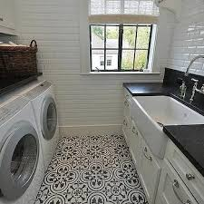Best Flooring For Laundry Room Black And White Laundry Room With Beveled Mirrored Subway Whole