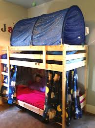 Bunk Beds Sheets Brown Wooden Bunk Bed With Blue Owls Tent Combined With Pink Bed
